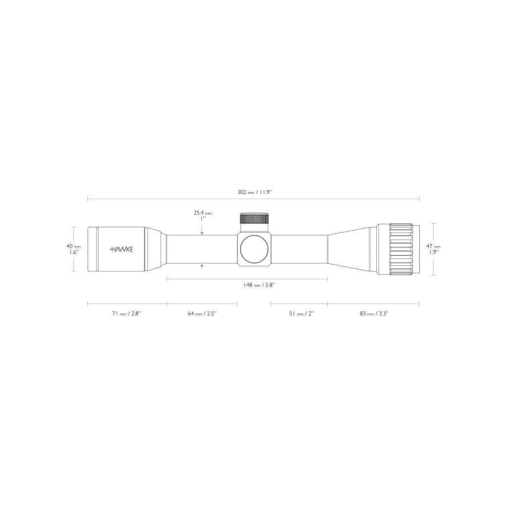 Optika HAWKE Vantage 4x32 AO Mil Dot Reticle 14102-11391