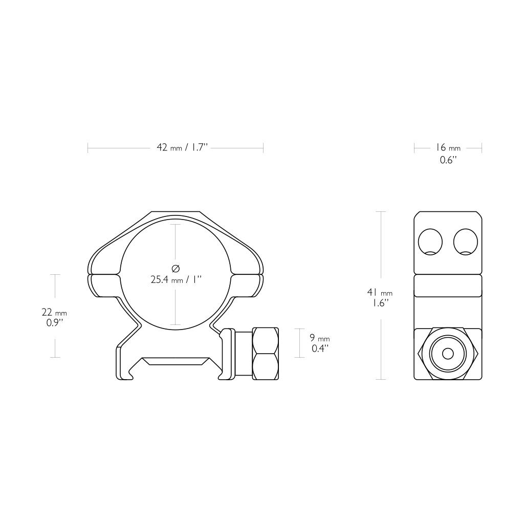 """Nosač optike prsten za Pikatini Šinu HAWKE čelični 1"""" Med-23001-5382"""