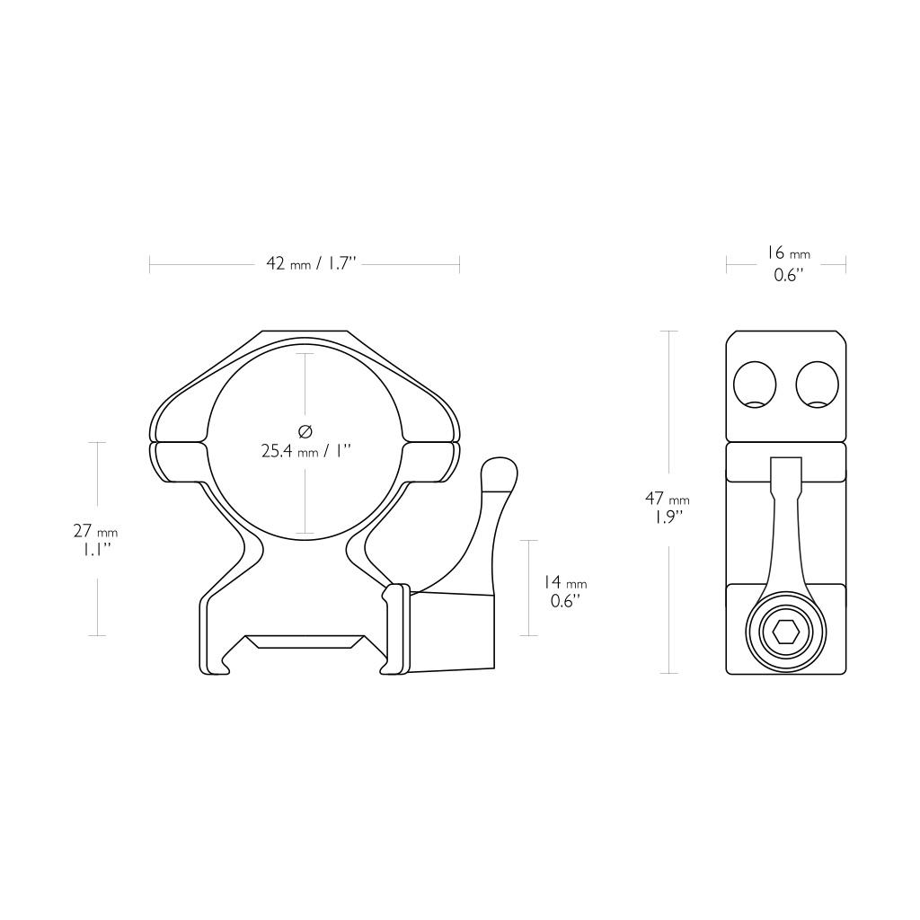 """Nosač optike prsten za Pikatini Šinu sa polugom HAWKE 1"""" High-23012-5384"""