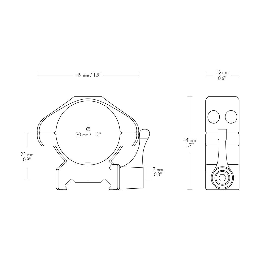 """Nosač optike prsten za Pikatini Šinu sa polugom HAWKE 1"""" High-23016-5385"""