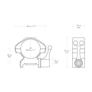 Nosač optike prsten za Pikatini Šinu sa polugom HAWKE 1″ Med-23011-5383