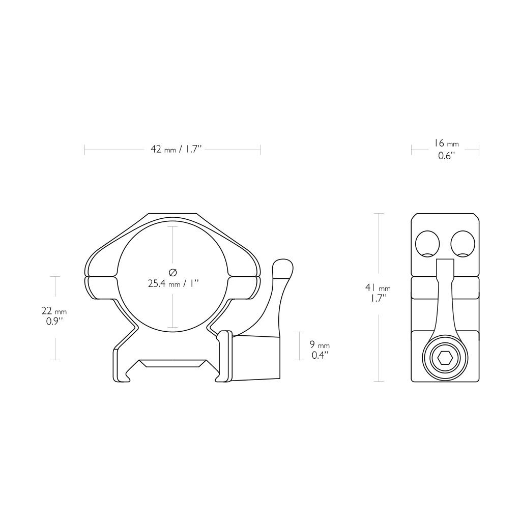 "Nosač optike prsten za Pikatini Šinu sa polugom HAWKE 1"" Med-23011-5383"